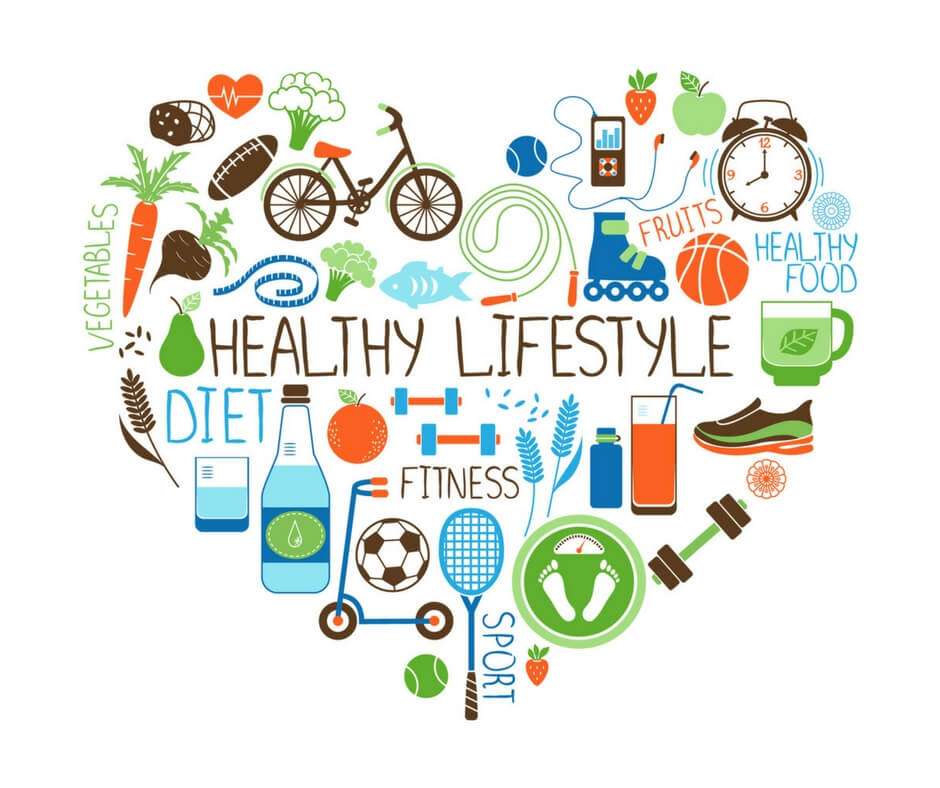 a heart filled with words and pictures displaying a healthy lifestyle
