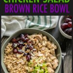 This healthy chicken salad and brown rice bowl with grapes, celery and honey mustard is easy and a great well balanced meal you can prep ahead of time! #chickensalad #healthychickensalad #chickensaladwithgrapes #beautifullybrokenjourney #salad