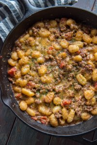Delicious and easy Cheeseburger Gnocchi Skillet is bursting with flavor and is healthy, too!