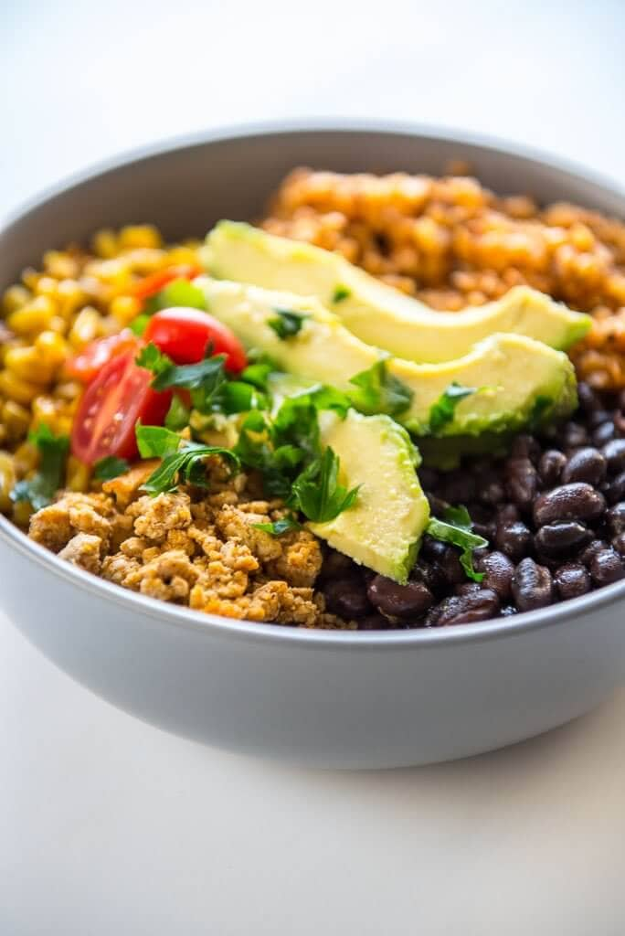 Bowl of Black beans, turkey taco bowl and cauliflower rice with avocado