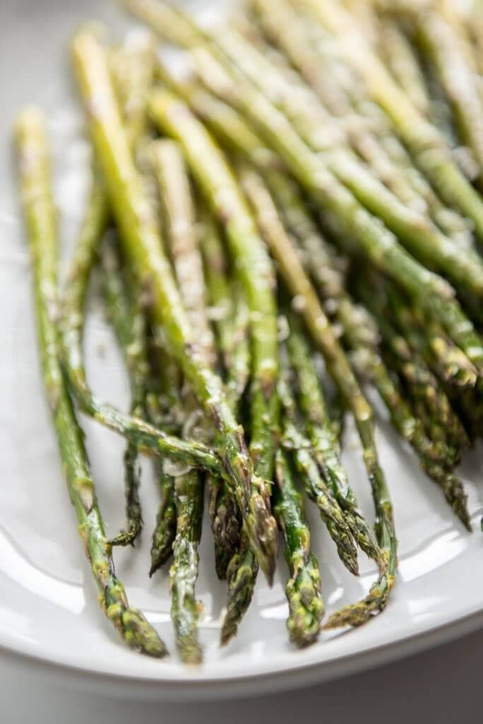 Close up of Oven Roasted Garlic Parmesan Asparagus