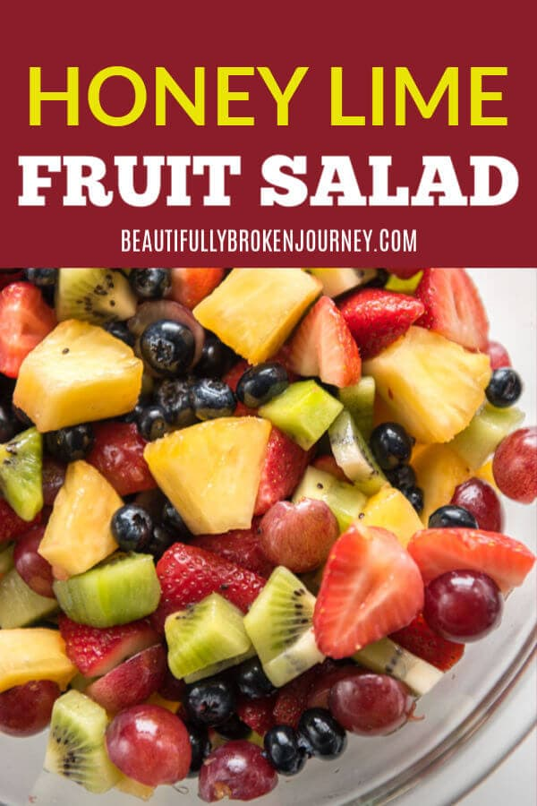 This honey lime fruit salad is the perfect bowl of freshness! Perfect for a party, or just for meal prep for lunch or dinner! #honeylime #fruitsalad #kiwi #blueberries #strawberries #pineapple #mealprep #summerbbq #potluck #salad