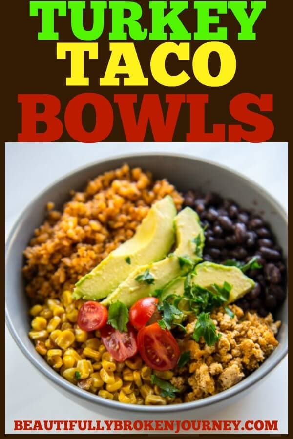 Turkey Taco Bowls with Cauliflower Rice is a healthy low-carb meal that is quick and easy to prepare and makes great leftovers! #groundturkey #cauliflowerrice