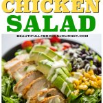 I love a fresh meal packed with protein and veggies.  It's a bonus if it can be prepared quickly, or ahead of time!  This Southwest Chicken Salad is a perfect meal for a warm summer night, or a delicious lunch to prep ahead of time. #southwestchicken #southwest #airfryer #airfryerchicken #salad #beautifullybrokenjourney #healthyrecipes