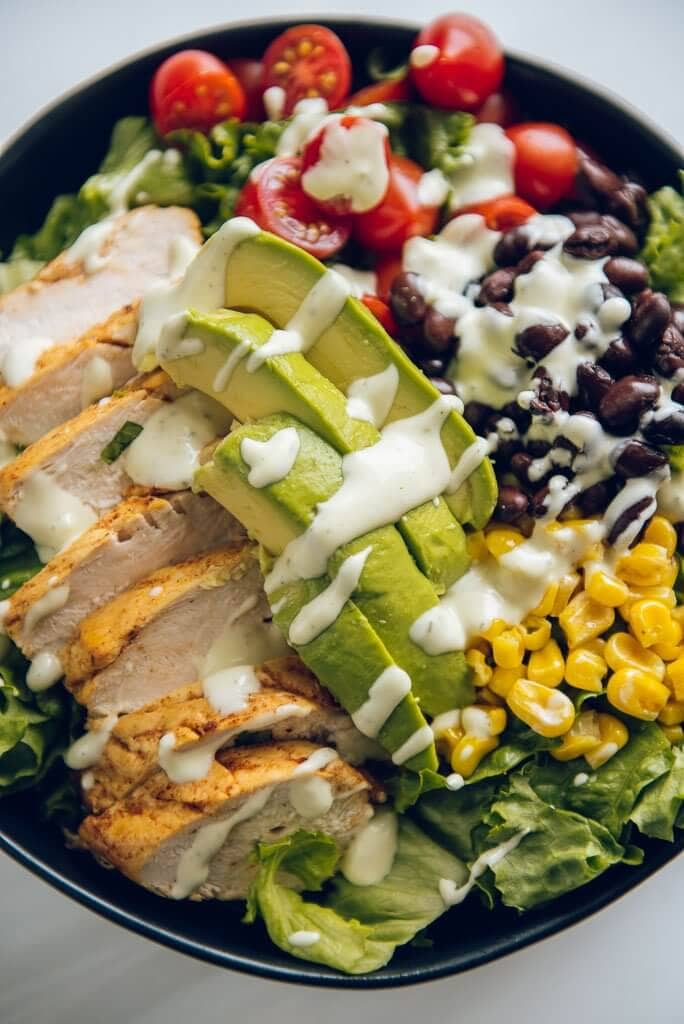 up close picture of southwest chicken salad