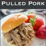 Easy Slow Cooker Pulled Pork is the perfect dish to serve at your next family gather or prep ahead of time. It also makes a great weeknight dinner! #pulledpork #pork #slowcooker #crockpot #pulledporkrecipes