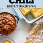 When fall comes around I crave all things pumpkin and I could eat chili every day so why not combine the two??   This Slow Cooker Pumpkin Chili is easy, healthy and will satisfy your craving for a hearty bowl of chili with a hint of pumpkin. #slowcooker #beautifullybrokenjourney #pumpkin #pumpkinrecipes #pumpkinchili #beefchili #chili #fallrecipes