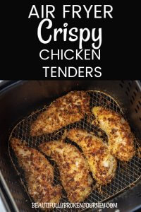 Air Fryer Crispy Chicken Tenders are so easy to make and seasoned with panko and parmesan. They are so easy and delicious you may never buy frozen chicken tenders again! #airfryerrecipes #airfryerchickentenders