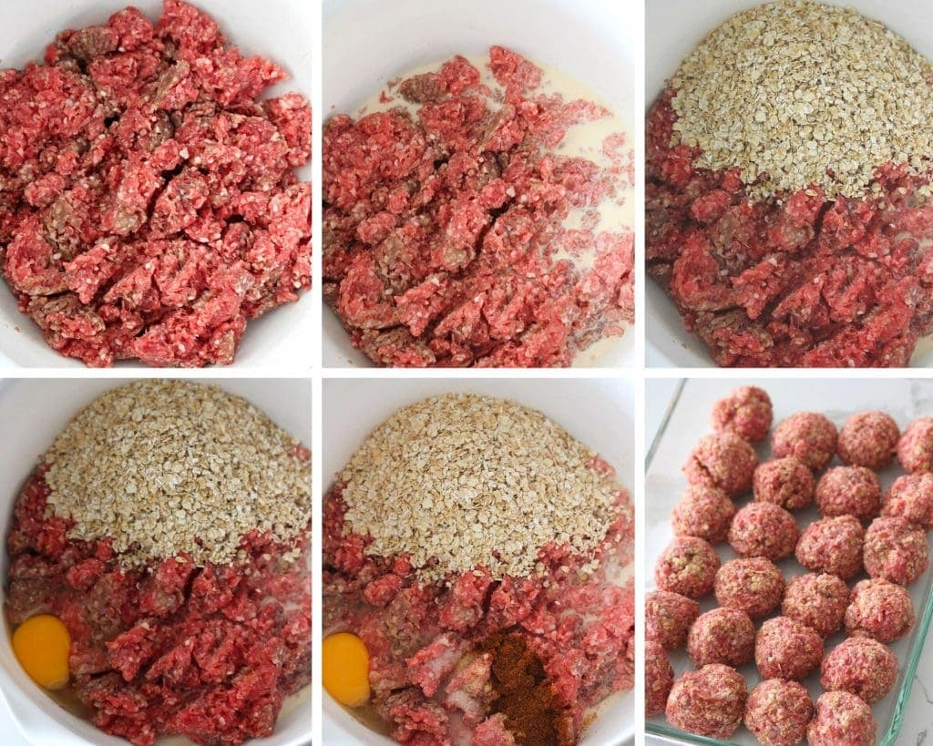 The process of combining ground beef, milk, spices, eggs, oatmeal to make BBQ Meatballs and then the meatballs rolled into balls.