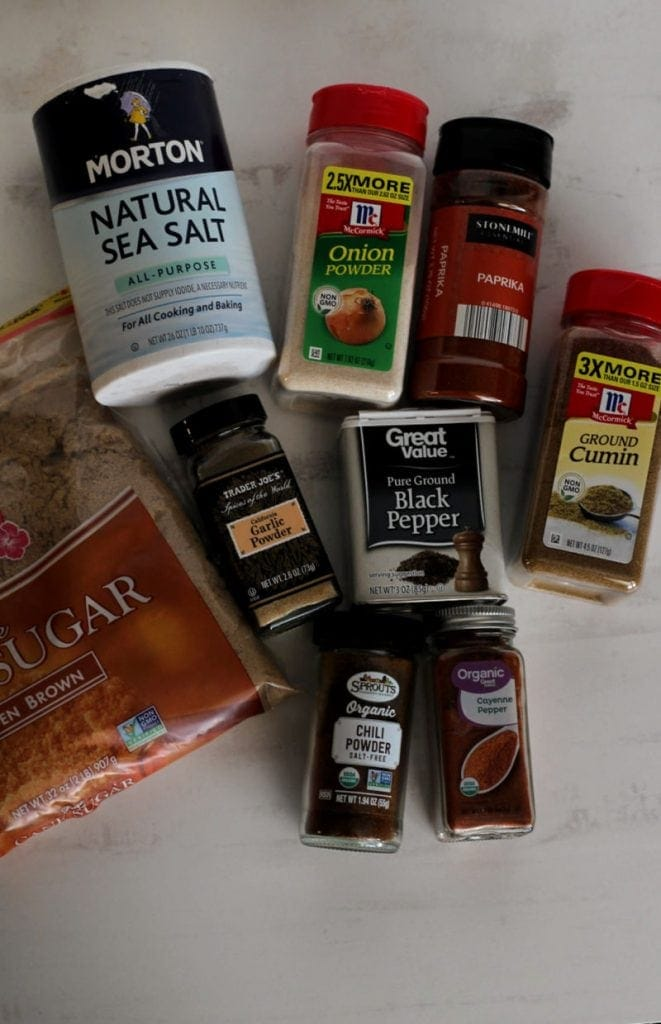 a layout of all the spices included in the chili seasoning recipe