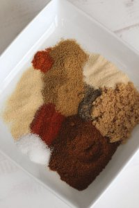 picture of spices in a white flat bowl