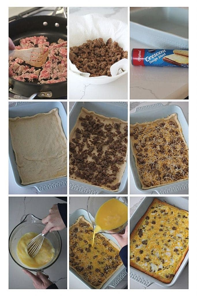 A step by step process describing how to make breakfast casserole with crescent rolls.  Brown the sausage, line the pan with crescent rolls, add the sausage, cheese and egg and bake!
