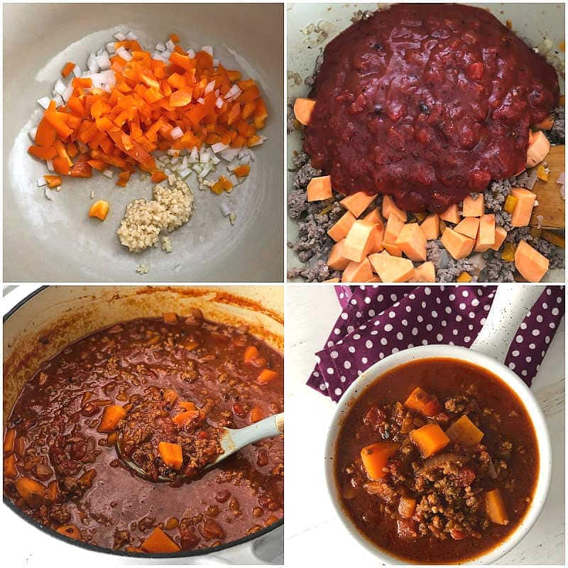 The process of making dutch oven chili