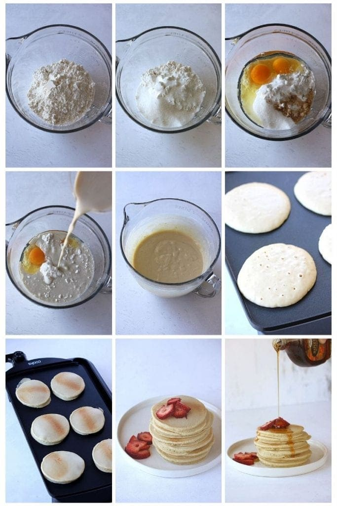 The process of gluten free pancakes in a bowl and on the griddle