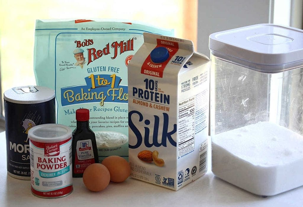 All the ingredients I used to make the gluten free pancakes