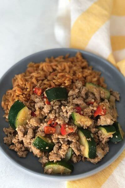 Ground turkey skillet with vegetables is a quick recipe that is packed with nutrition and is gluten and dairy free!