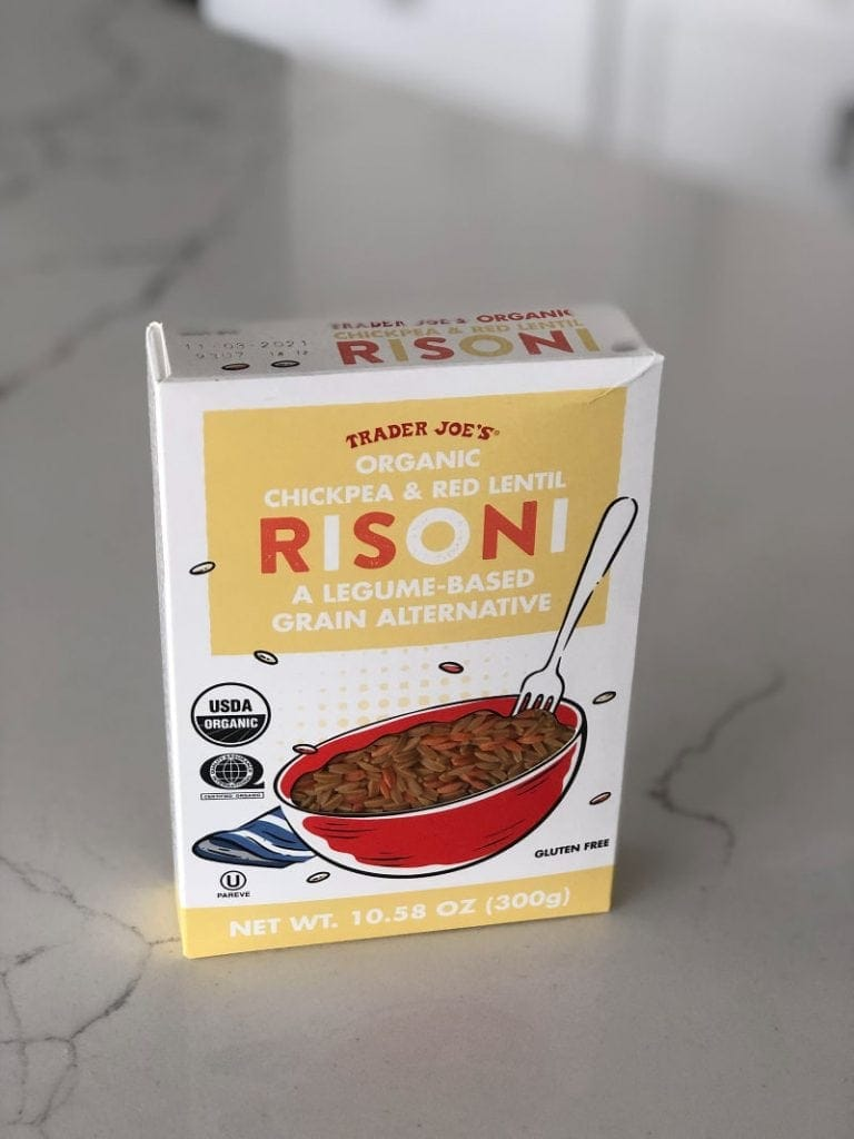 Picture of a box of Trader Joe's Organic Chickpea & Red Lentil Risoni