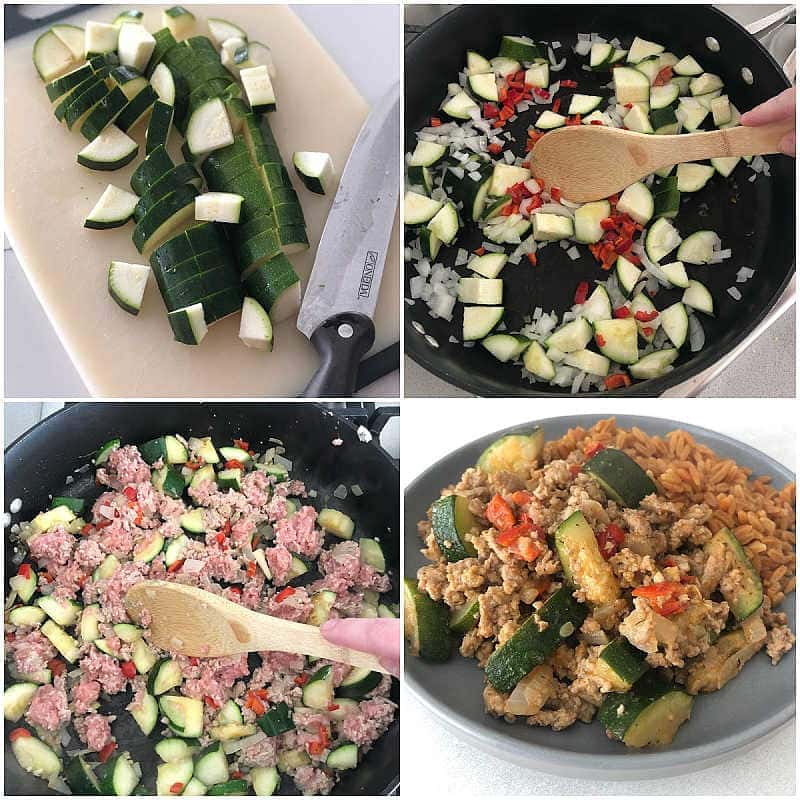 Process of making Turkey Skillet with vegetables