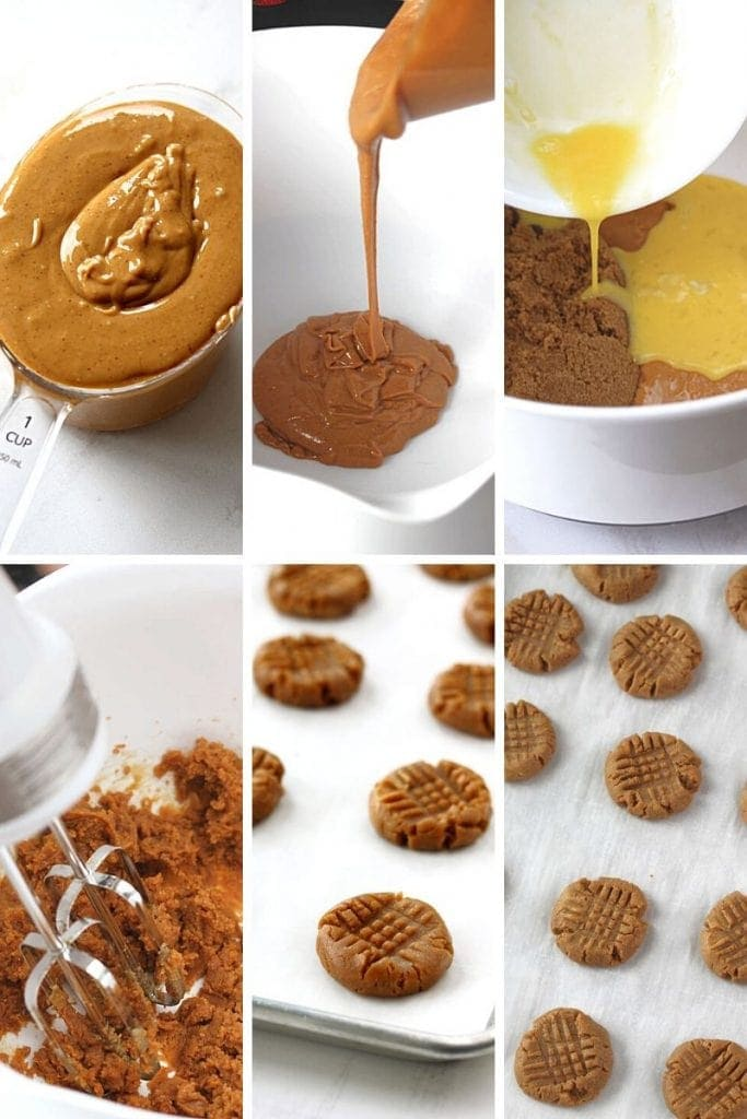 The process of making flourless peanut butter cookies