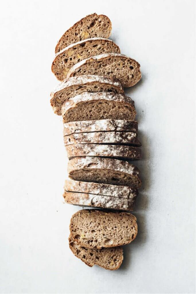 white background with sliced bread