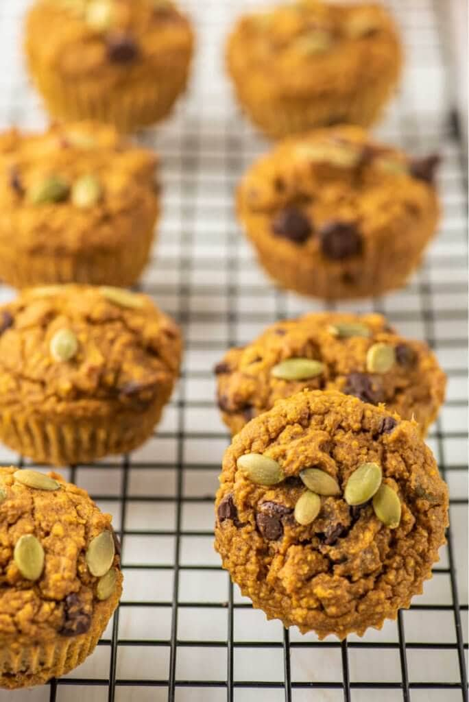 Healthy Pumpkin Muffins on a cooling rack
