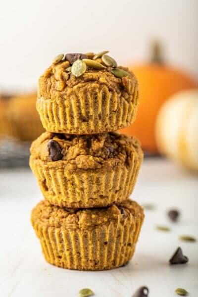 a stack of healthy pumpkin muffins