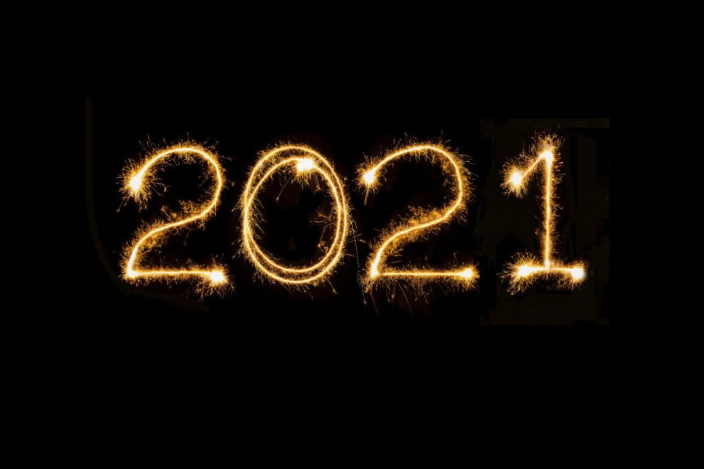 "Black background with ""2021"" in sparklers"