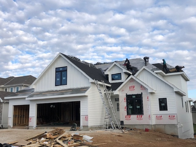 a white home that is being built