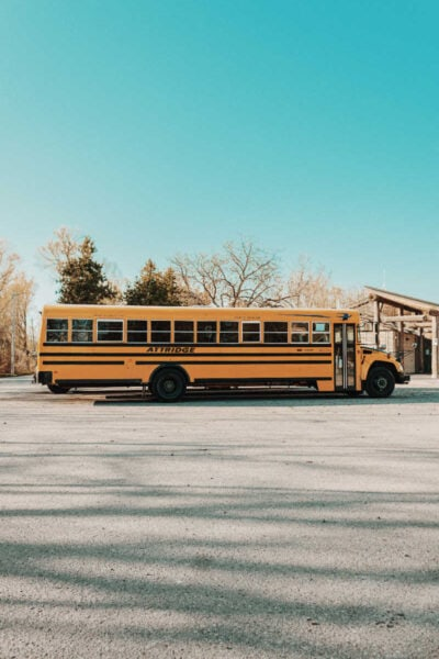 a side view of a school bus