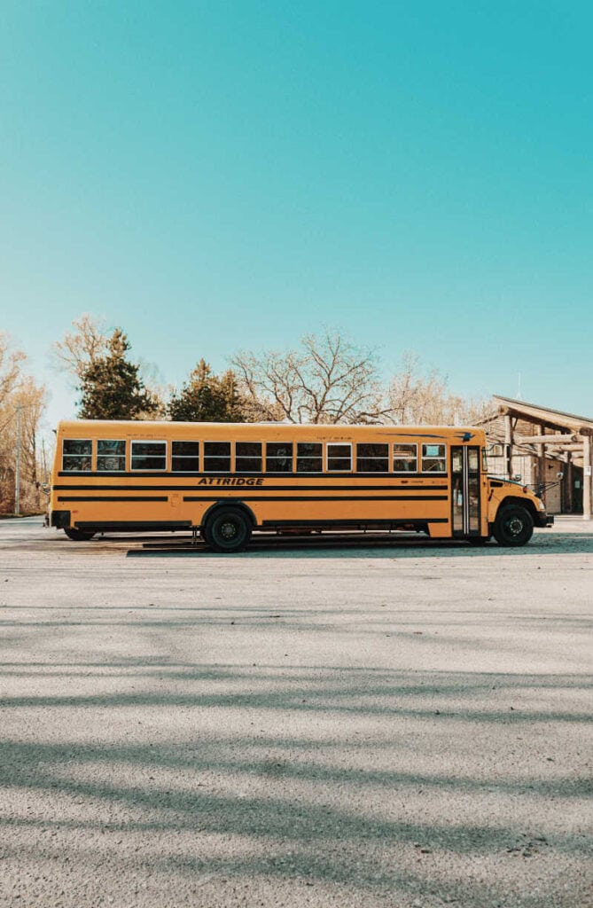 side view of a school bus